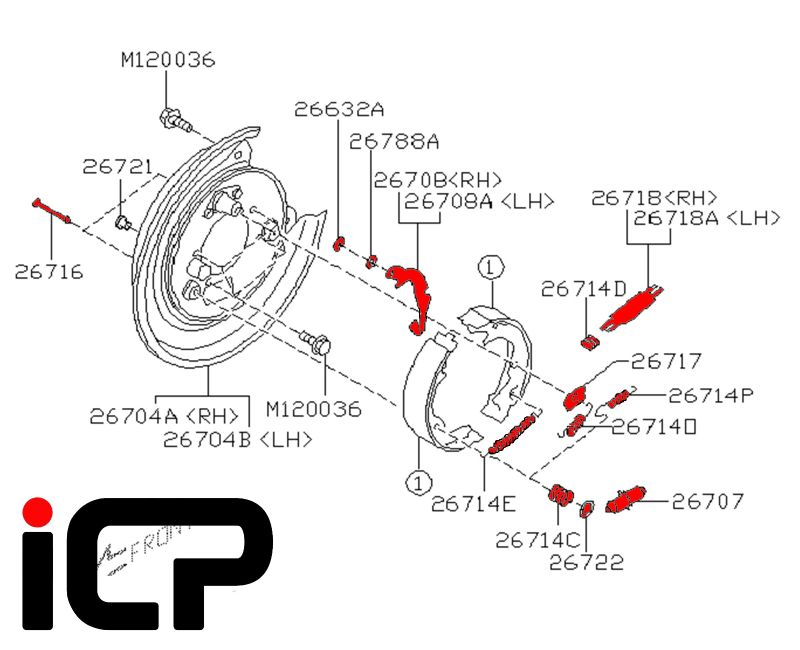 Subaru Impreza 92-07 170mm Handbrake Shoe Rebuild Kit